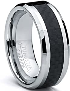 8MM Men's Tungsten Carbide Ring Wedding Band W/ Carbon Fiber Inaly sizes 5 to 15