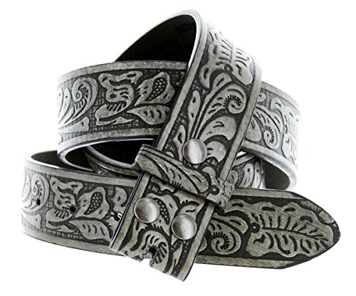 Western Floral Embossed Leather Strap