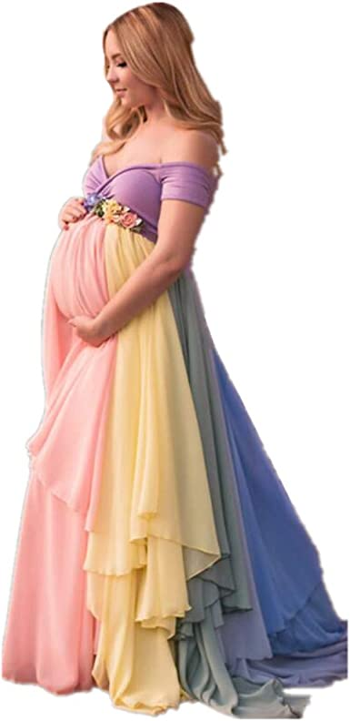 Formaldresses Rainbow Maternity Evening Dress High Waist For Pregnant Women Plus Size Lace Up Back At Amazon Women S Clothing Store