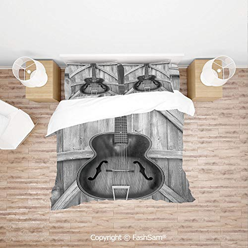 (FashSam 4 Piece Bedding Sets Breathable Vintage Acoustic Instrument Guitar Hanged on Old Wooden Door Fences Country Ranch for Home(King))