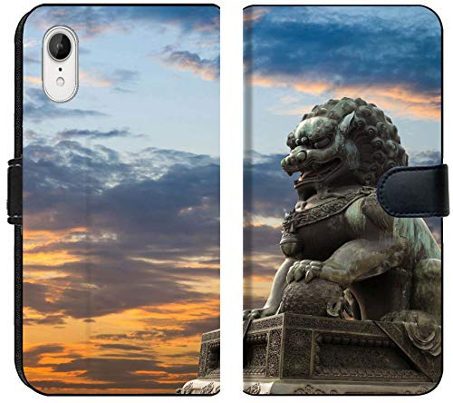 Apple iPhone XR Flip Fabric Wallet Case Image ID: 10463217 Majestic Lion Statue with Sunset Glow Traditional Chinese Culture sy (Chinese Statue Lion For Sale)
