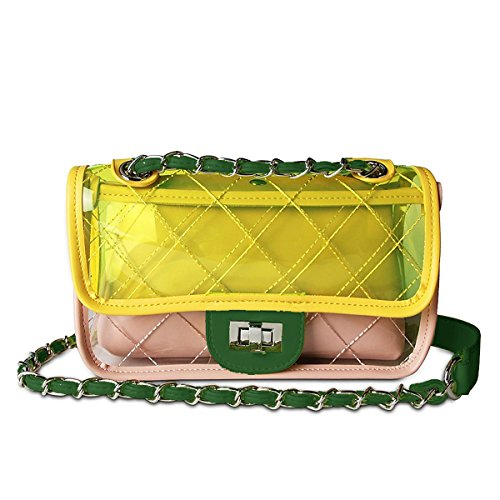 YOOXI Womens' Clear Purse Turn Lock Handbags Chain Shoulder Bags NFL Approved Bags Yellow + Pink