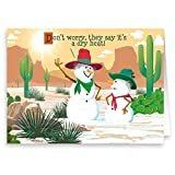 Dry Heat Western Snowman Funny Christmas Card - 18 Holiday Cards