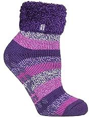 Heat Holders Warm Winter Thermal Lounge Socks Purple/Pink Stripe UK9-12 US10-13