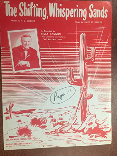 (SHIFTING WHISPERING SANDS (1950 MARY M HADLER Sheet Music) excellent condition, writing on middle cover, featured by BILLY VAUGHN (pictured))
