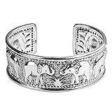 Elephant Jungle Trek Thai Yao Hill Tribe Fine Silver Adjustable Cuff Bracelet