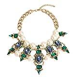 efigo Fashion Statement Necklace Choker Collar Bib Necklace Vintage Boho Costume Jewelry for Women Girls (Pearls)