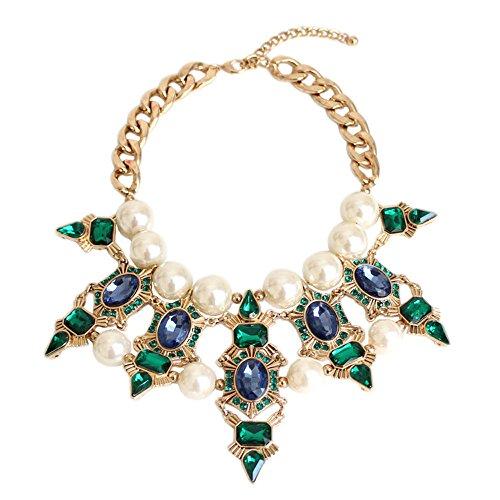 efigo Fashion Statement Necklace Choker Collar Bib Necklace Vintage Boho Costume Jewelry for Women Girls (Pearls) ()