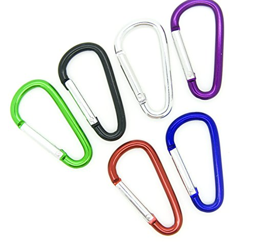 (100pcs Aluminum Carabiner Clip Key Chain Key Ring 1-7/8 (Assorted Color) by OnDepot)