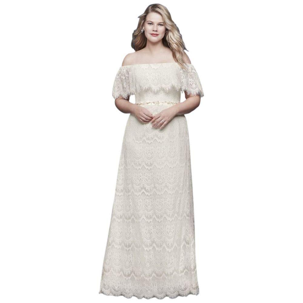 Davids Bridal Off The Shoulder Eyelash Plus Size Wedding Dress