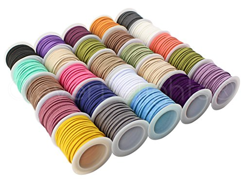 CleverDelights Faux Leather Suede Cord - 25 Roll Set - Mixed Colors - 5 Yds/Roll - 3mm Flat Beading Cord - Faux Strand Necklace