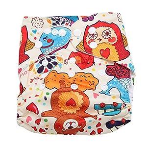 DERCLIVE Reusable Infant Swim Diaper Washable Pocket Cloth Hook Loop Operating System Size Adjustable,Colorful