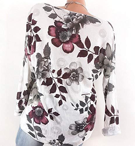 con scollo di shirt da originale T bianco shirt donna T Camicette Offerta da da ragazza Camicetta teenager lunga a da manica donna Vectry donna da BgqwEAC
