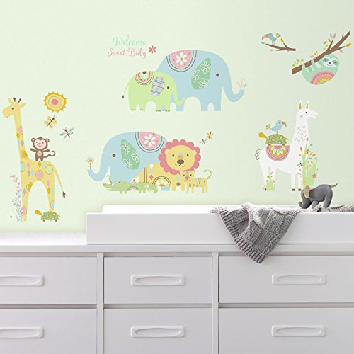 RoomMates Tribal Baby Animals Peel And Stick Wall Decals