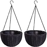 K&A Company Garden Round Pe Rattan Plant Hanging Planters Yard Outdoor Wicker Home Set Of Two 13.8''