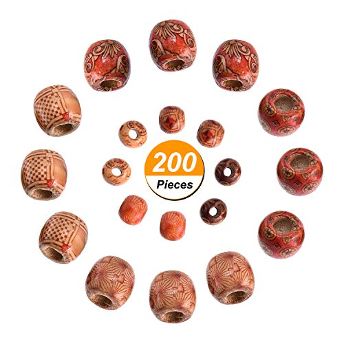 Beads Hair Crafts - TecUnite 200 Pieces Natural Mixed Painted Drum Wood Beads Round Loose Wooden Beads for Jewelry Making Craft and Hair Dreadlock Decoration (9 x 10 mm and 16 x 17 mm)