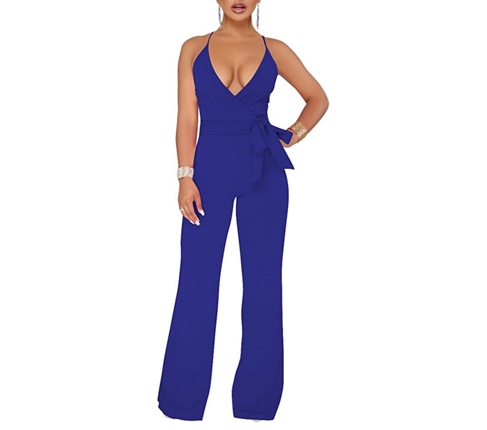 bluee MS Mouse Womens Sexy Spaghetti Strap V Neck Sleeveless Wide Leg Jumpsuits