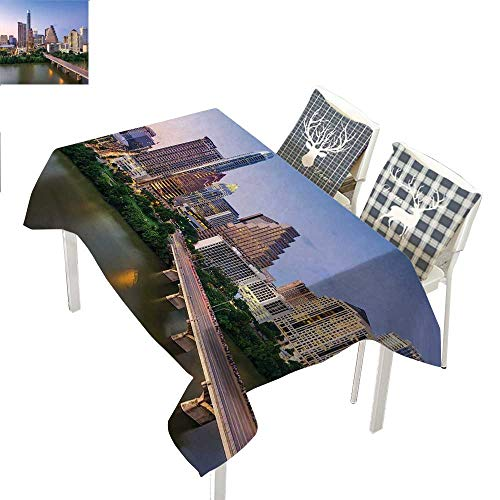 WilliamsDecor Modern tablecloths Party Decorations Austin Texas American City Bridge Over The Lake Skyscrapers USA Downtown PictureMulticolor Rectangle Tablecloth W60 xL102 inch ()
