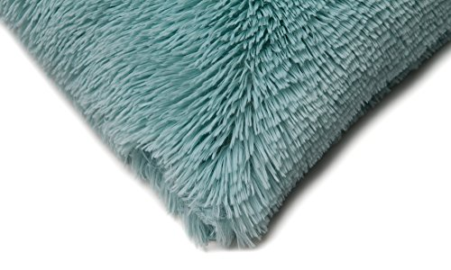 Chanasya Super Soft Long Shaggy Chic Fuzzy Faux Fur Warm Elegent Cozy Aqua Blue Throw Pillow Cover Pillow Sham - Solid Turquoise Fur Throw Pillowcase 18x18 Inches 2-Pack(Pillow Insert Not Included)