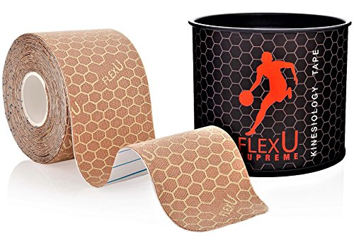 FlexU Supreme; Skin Tone Kinesiology Tape; Pre-Cut 1 Roll Pack; Therapeutic Recovery Sports Tape; Advanced Strength & Flexibility Properties; Longer Lasting; Professional Grade