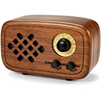 Rerii Handmade Walnut Wood Portable Bluetooth Speaker, Bluetooth 4.0 Wireless Speakers with Radio FM/AM, Nature Wood Home Audio Bluetooth Speakers with Super Bass and Subwoofer