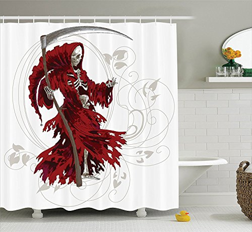 [Gothic Decor Collection Illustration of Skeleton Grim Reaper Dead Farmer Skull with Hood Danger Evil Print Polyester Fabric Bathroom Shower Curtain Set with Hooks Red Beige] (Farmer Girl Costume Images)