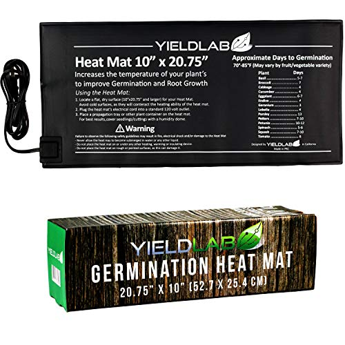 (Yield Lab Seed and Clone Heat Mat - 20.75 x 10 Inch - Hydroponic, Aeroponic, Horticulture Growing Equipment (20.75 x 10 Inch Heat Mat))
