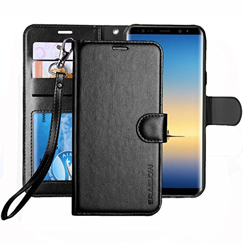 Leather Black Cover (Galaxy NOTE 8 Case, ERAGLOW Luxury PU Leather Wallet Flip Protective Case Cover with Card Slots and Stand for Samsung Galaxy NOTE 8 (Black))