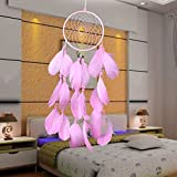 Pink Feathers Wind Dream Catcher Wall Hanging Home Car Decor Ornament Craft Plume Bells