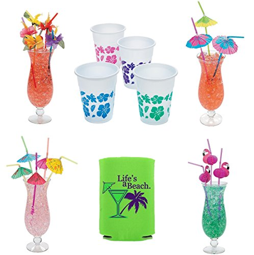 50 Hibiscus Party Glasses and 4 dozen Assorted Tropical Bendable Straws Luau Bundle + Bonus Can cooler