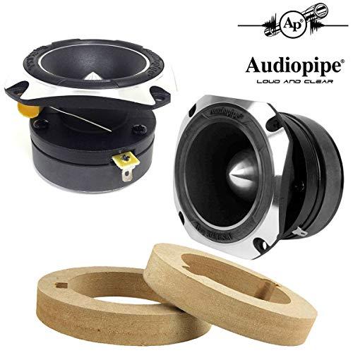Audiopipe 1-Pair Titanium Super Bullet 1' Tweeters - 350W Max 4 Ohm with Custom MDF Tweeter Adapter Rings Spacers