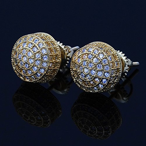 Men's Gold Tone ICED OUT Micropave 3D Dome Cz Earring Stud Round Screw Back Hip Hop by L & L Nation (Image #4)
