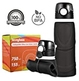 Jerrybox Collapsible Water Bottle - 750ml, Silica Gel, Medical Grade, BPA Free, FDA Approved, Leak Proof Silicone Foldable Sports Bottle, for Sport, Outdoor, Travel, Camping, Picnic(26 oz)(grey)