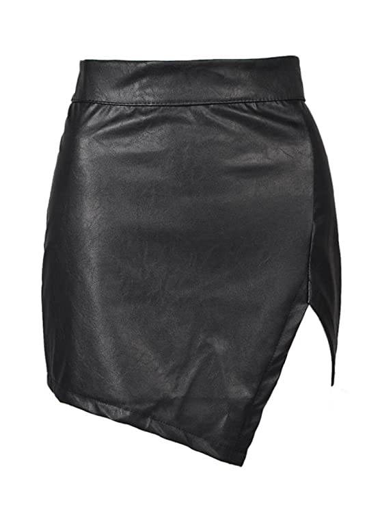 Choies Women's Black Cut Out Mid Waist Asymmetric Hem PU Mini ...