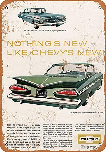 (FDerks 8 x 12 Metal Sign - 1959 Chevrolet Impala Sport Coupe - Vintage Look Reproduction)