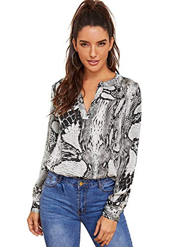 WDIRARA Women's Casual V Neck Snake Skin Print Long Sleeve Pullover Blouses Tops Grey ()