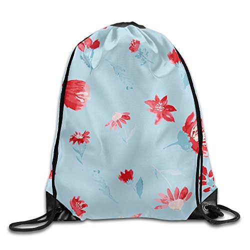 Red Flower. Personalized Gym Drawstring Bags Travel Backpack Tote School Rucksack