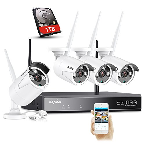 SANNCE 4CH HD NVR Wireless Security Camera System with 4x 1.0MP...