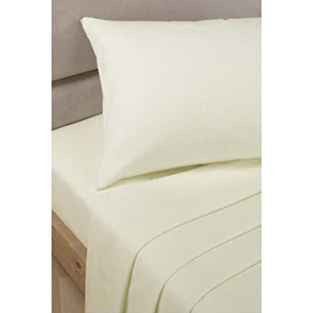Ivory Cream Super King Size Flat Sheet Polycotton Percale Bed Sheet