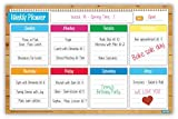 "Crafty Charts - Magnetic Weekly Planner Flexible Dry Erase Board for Fridge / Reusable / Chore Chart / Academics / Agenda Organizer / Increases Productivity / Undated 11"" x 17"""