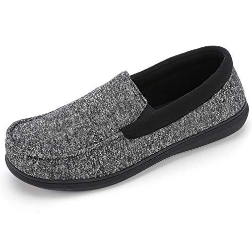 RockDove Men's Moc Slipper with SILVADUR Anti-Odor Fabric, 11, Black (Washable Slippers Mens)