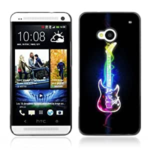 Designer Depo Hard Protection Case for HTC One M7 / Cool Neon Art Guitar