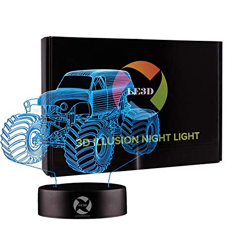 3D Optical Illusion Night Light - 7 LED Color Changing Lamp - Cool Soft Light Safe For Kids - Solution For Nightmares - Grave Digger Monster Truck Tractor