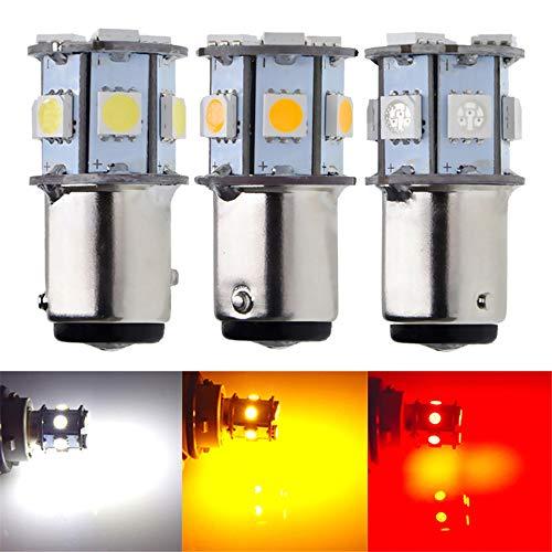 2 X 1157 BAY15D S25 P21/5W LED Car Bulbs 5050 Chips 9SMD Auto Tail Rear Turn Signal Backup Brake Stop Light Lamps White Red Amber 6V DC (2PCS, White)