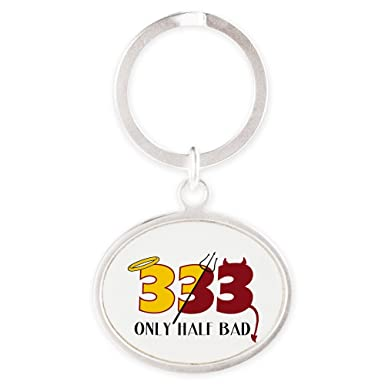Amazon.com: Oval Keychain 333 Only Half Bad Angel Halo Devil ...