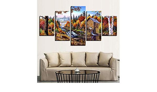 bdbdff 5 Piezas Lienzo Paisaje De V/ía De Tren,HD Impresiones Lienzo Decoraci/ón del Hogar Oficina 5 Cuadros Pintura Decorativa Regalo 100Cmx55Cm Sin Marco