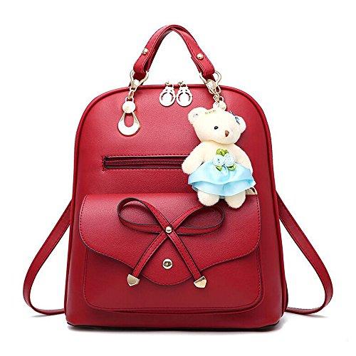 match Backpack Lady functional Bag Backpack Casual All Bag Multi Travel Red Women Korean purpose Dual pI8q8wnd
