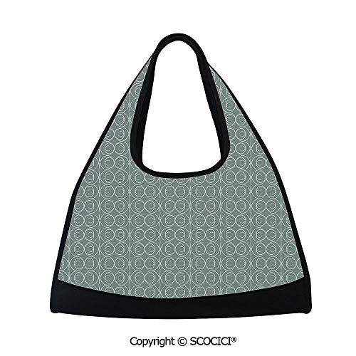 Fitness bag,Medieval Authentic Style Curved Oval Floral Motifs Delicate Feminine,Easy to Carry(18.5x6.7x20 in) Light Sage Green White