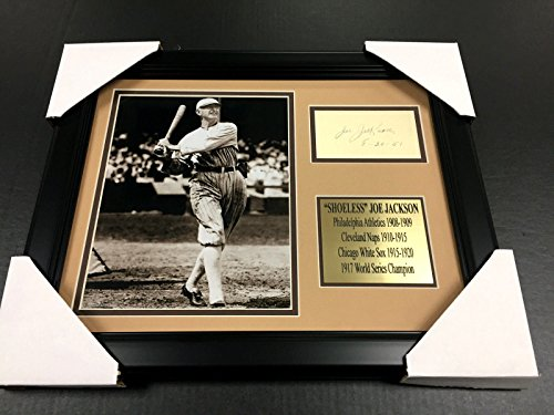 SHOELESS JOE JACKSON Autographed Cut REPRINT Framed 8x10 Photo BLACK SOX (Shoeless Joe Jackson Framed Photo)
