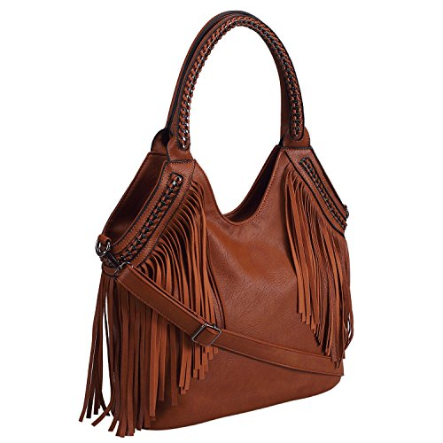 Womens Handbags, Celaine Tassel Hobo Hangbag Cross Body Shoulder Womens Satchel - Large Storage - PU Suede Leather, Brown